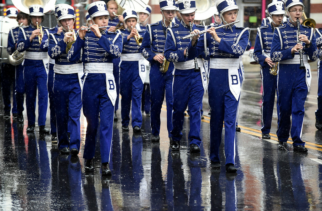 . Kayla Rice/Reformer Members of the Brattleboro Union High School band march in the Fourth of July parade in Brattleboro on Friday.