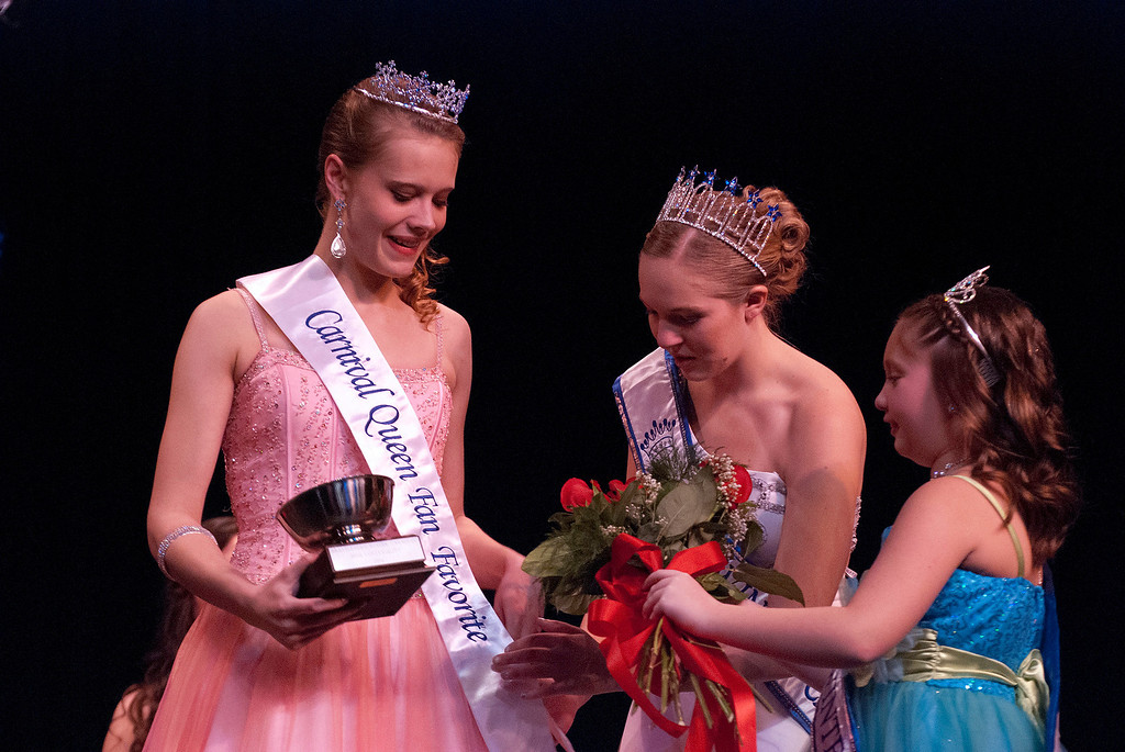 ". Kayla Rice/Reformer 2013 Winter Carnival Queen Alison Cornellier and Princess Kyla Brown give ""Fan Favorite\"" winner Nicole Koziara her sash and flowers during the 2014 Brattleboro Winter Carnival Queen\'s Pageant on Friday evening."
