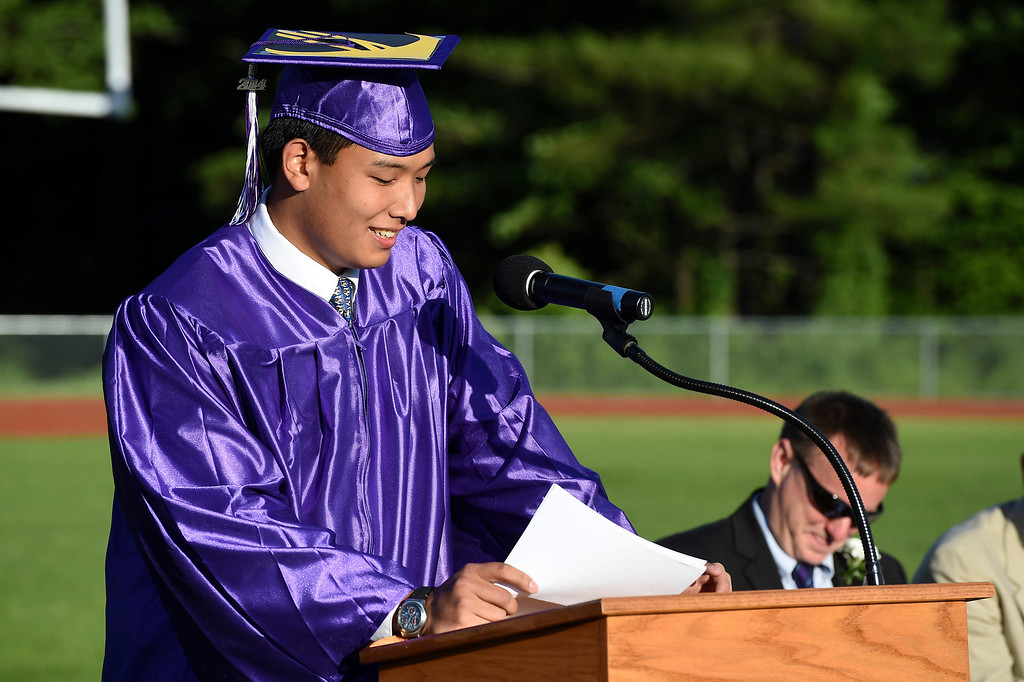 . Kayla Rice/Reformer Valedictorian Kevin Tao speaks at the BUHS graduation ceremony on Friday evening.