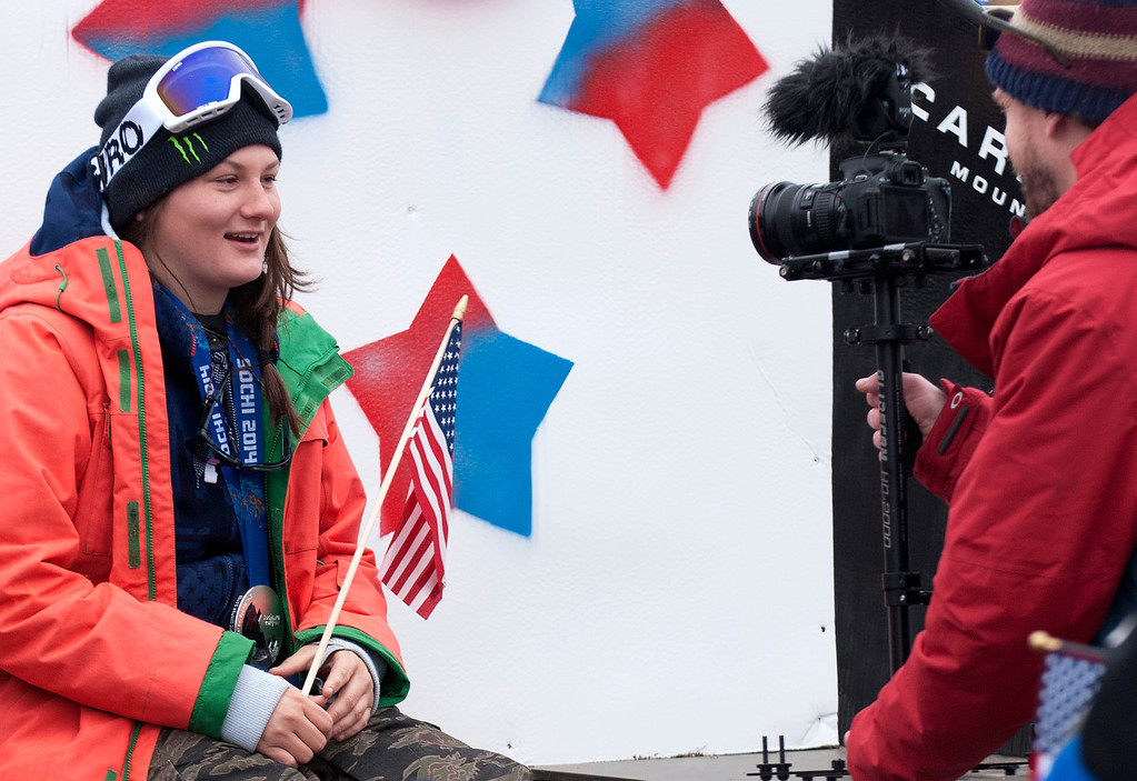 ". Kayla Rice/Reformer                                 Mount Snow athlete and Olympic silver medalist Devin Logan is interviewed during the ""Devin Day\"" celebration and parade in Dover on Saturday."