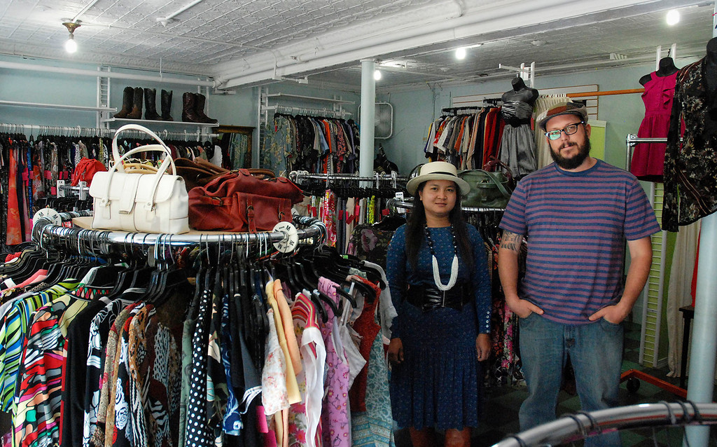 . Kayla Rice/Reformer New owners El and David Solin of El Sol Boutique stand in their shop on Main St. in Brattleboro.