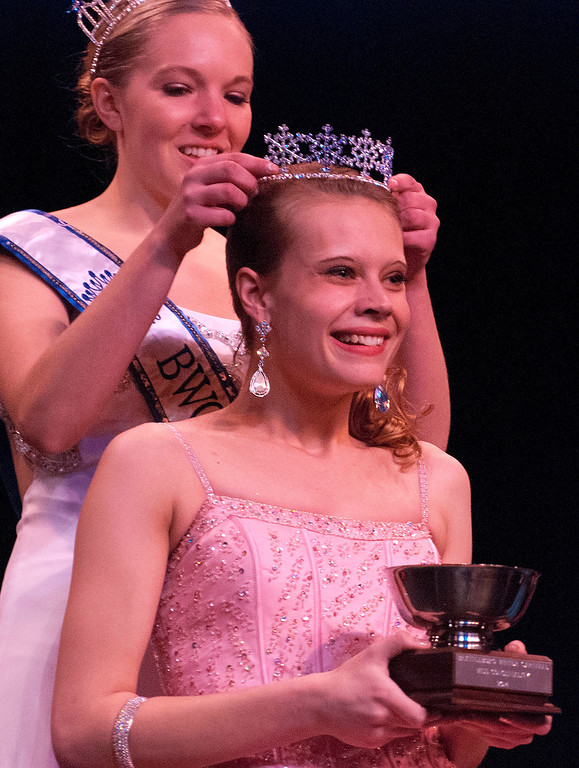 ". Kayla Rice/Reformer 2013 Winter Carnival Queen Alison Cornellier crowns Nicole Koziara as the ""Fan Favorite\"" during the 2014 Brattleboro Winter Carnival Queen\'s Pageant on Friday evening."