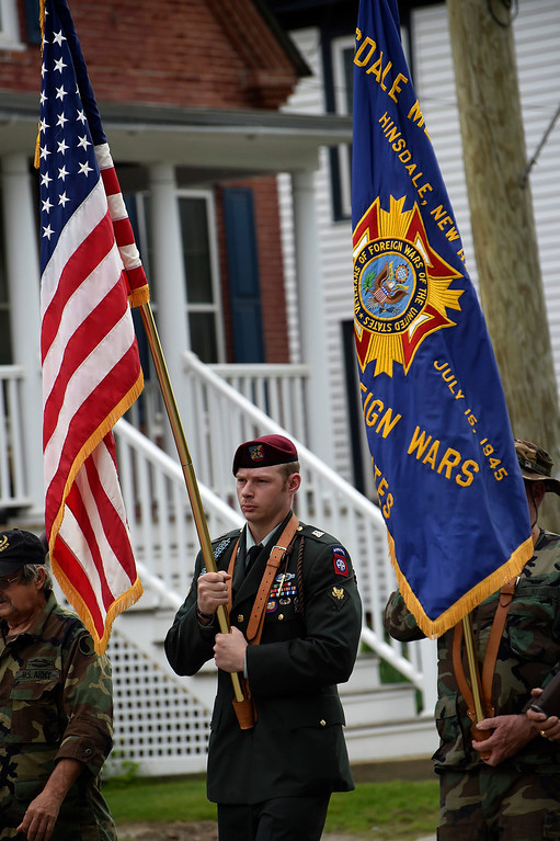 . Kayla Rice/Reformer Veterans march in the Hinsdale Memorial Day parade on Monday morning.