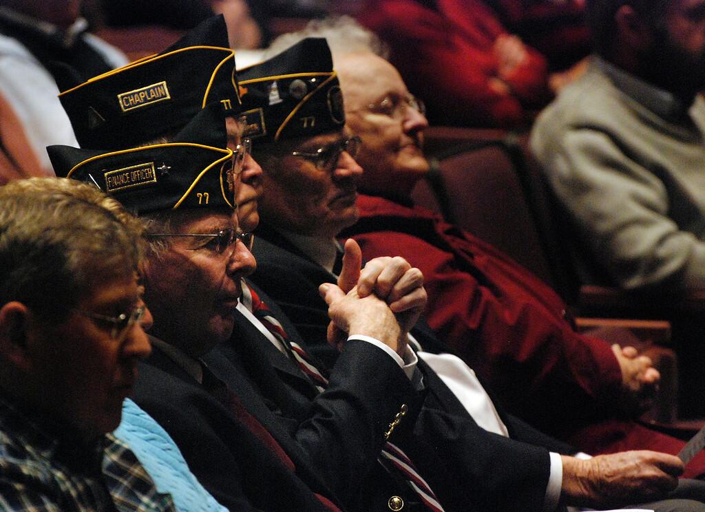 . Kayla Rice/Reformer Local veterans attend Kurn Hattin School\'s Veterans Day Ceremony on Monday morning.